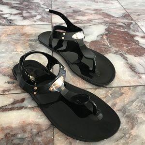 Michael Kors Jelly T Strap Sandals Size 10 Black